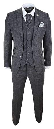 Costume Laine mélangée Gris Homme Tweed Style Peaky Blinders Authentique  années 20 3 pièces Coupe ajustée