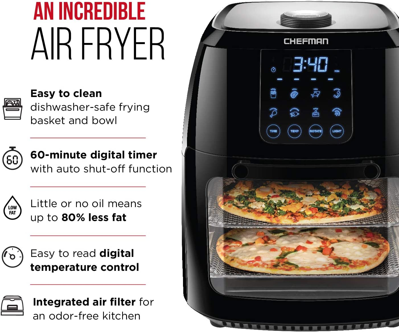 Air fryer with timer - Air fryer with stainless steel basket