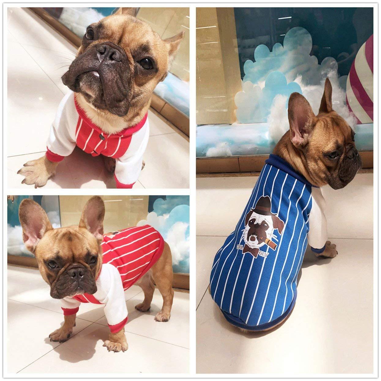 Tellaboull for Patrón de Rayas Bulldog francés Ropa para Mascotas Ropa de Perro para Mascotas Cuello de Cuatro Patas Sudaderas para Perros Abrigos Cachorros ...