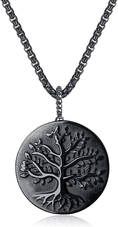 COAI Colgante árbol de la Vida en Obsidiana Cadena Acero Inoxidable