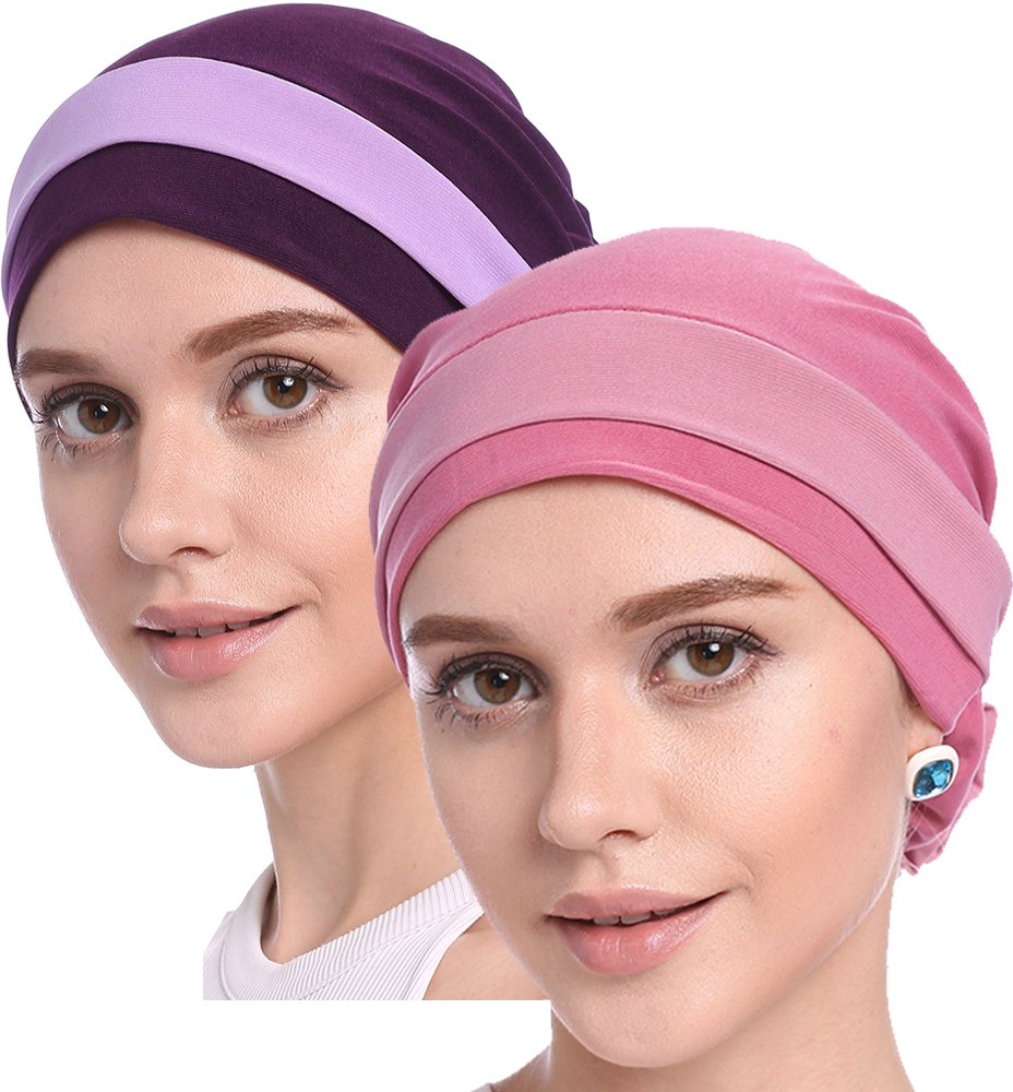 YI HENG MEI Women's Elegant Strench Flower Block Color Muslim Turban Chemo Cancer Cap (Pink+Purple)