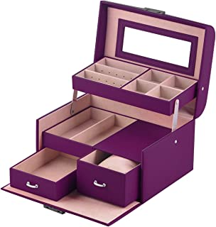 MBLife Laminated Leather Drawer Jewelry Box Organizer Lockable Storage Case with Mirror