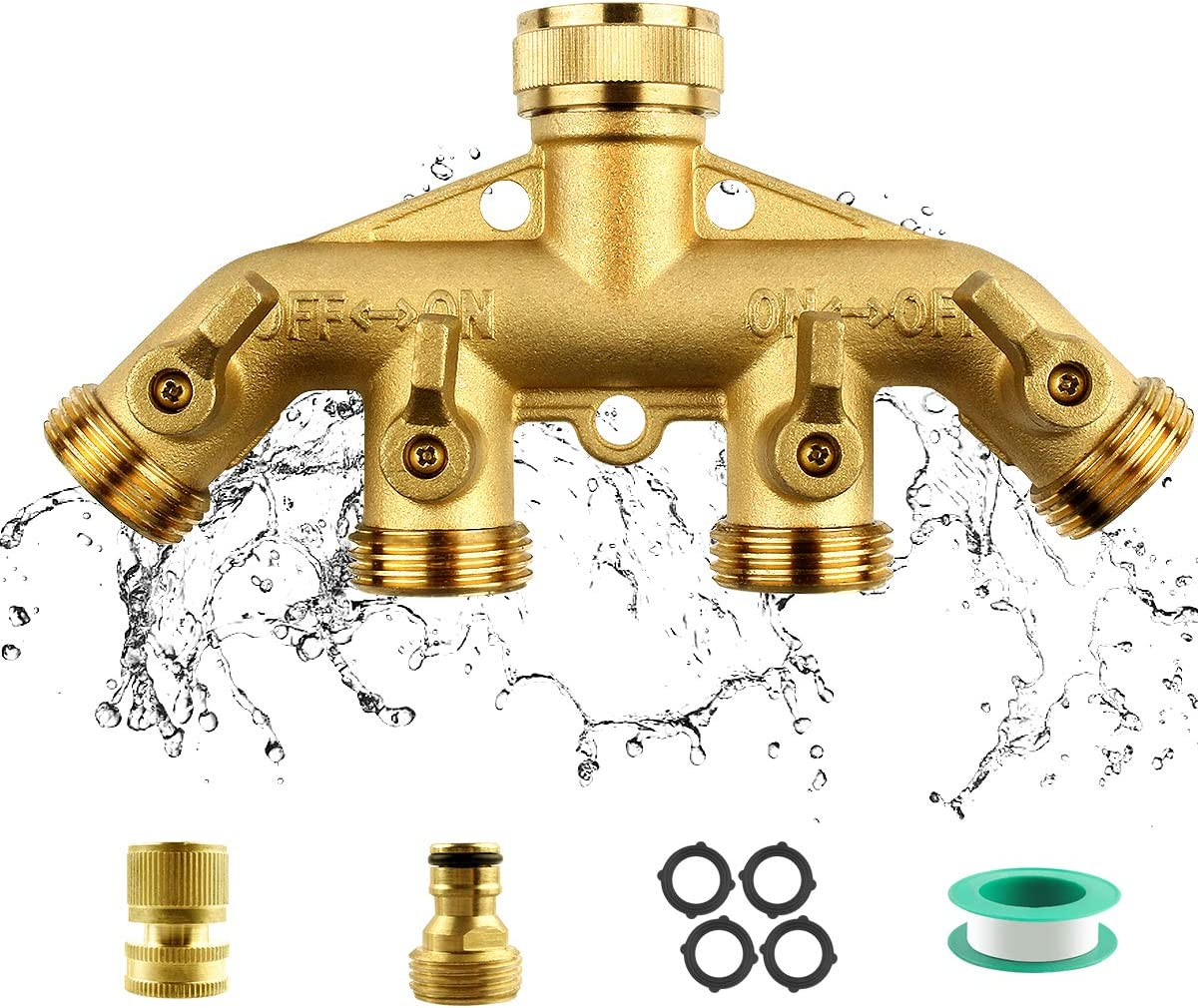 "RIFFUE Garden Hose Splitter 4 Way Heavy Duty Brass Hose Spigot Adapter with 4 Valves, Hose Connector 3/4"" with One Free Brass Quick Connector"