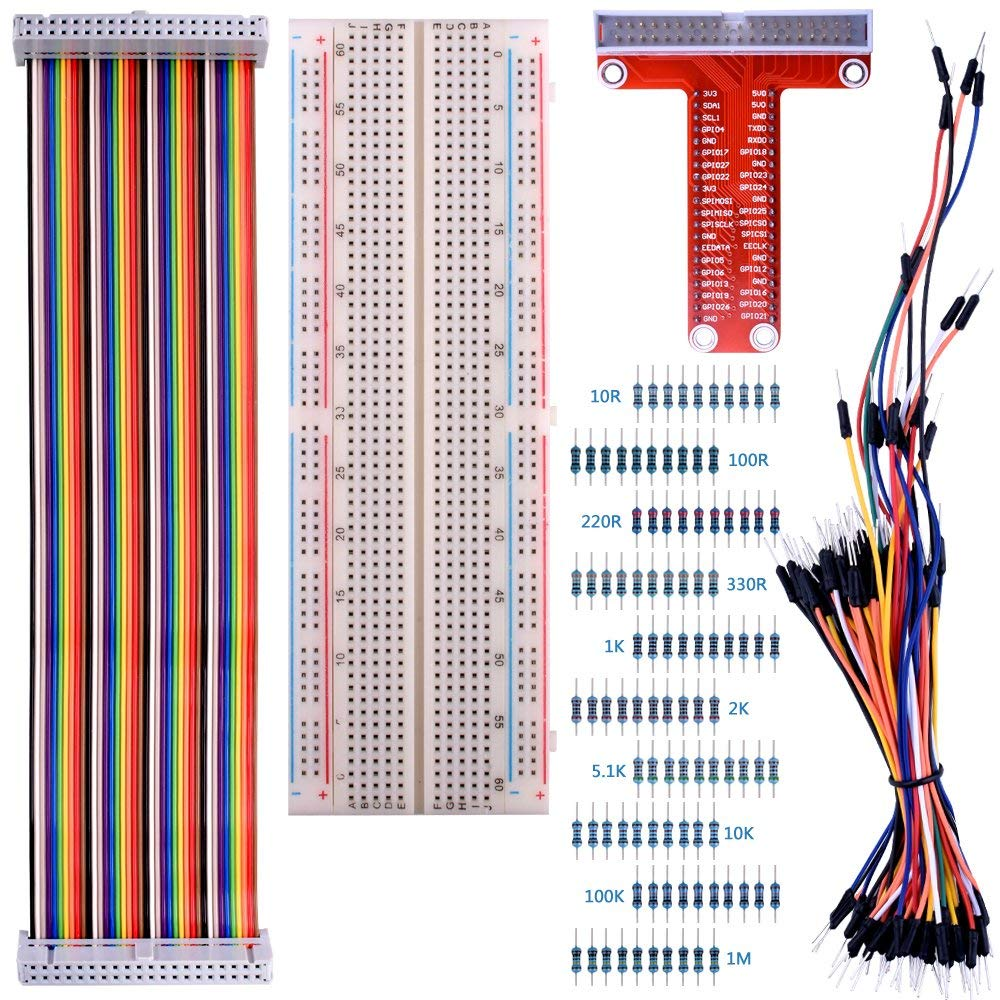 kuman for Raspberry Pi 3 Kit, 830 MB-102 Tie Points Solderless Breadboard + GPIO T Type Expansion Board + 65pcs Jumper Cables Wires+ 40pin Rainbow Ribbon Cable+100pcs Resistance K73 by kuman