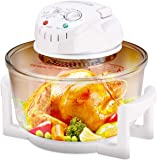 COSTWAY Upgraded Halogen Oven, 1400W 12L Air Fryer Cooker with Self-Cleaning Function, Adjustable Temperature and Timer, Includes Extender Ring to 17L Rack Tray, High Rack, Low Rack and Tong