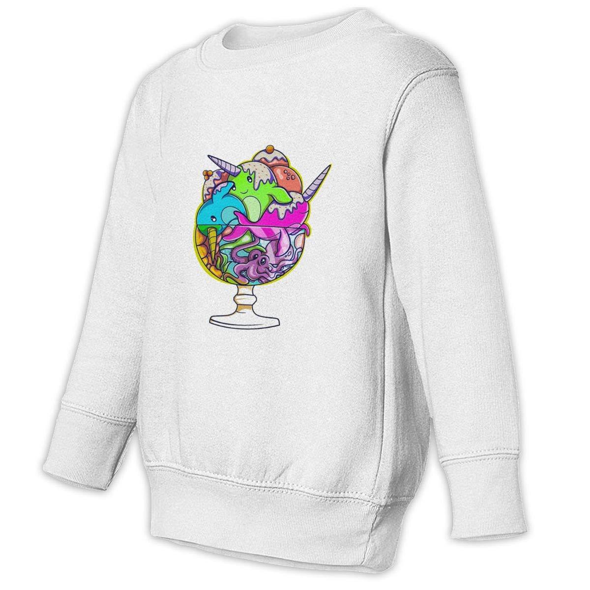 Narwhal Octopus Ice Cream Kids Unisex Cotton Long Sleeve Round Neck Sweatshirt