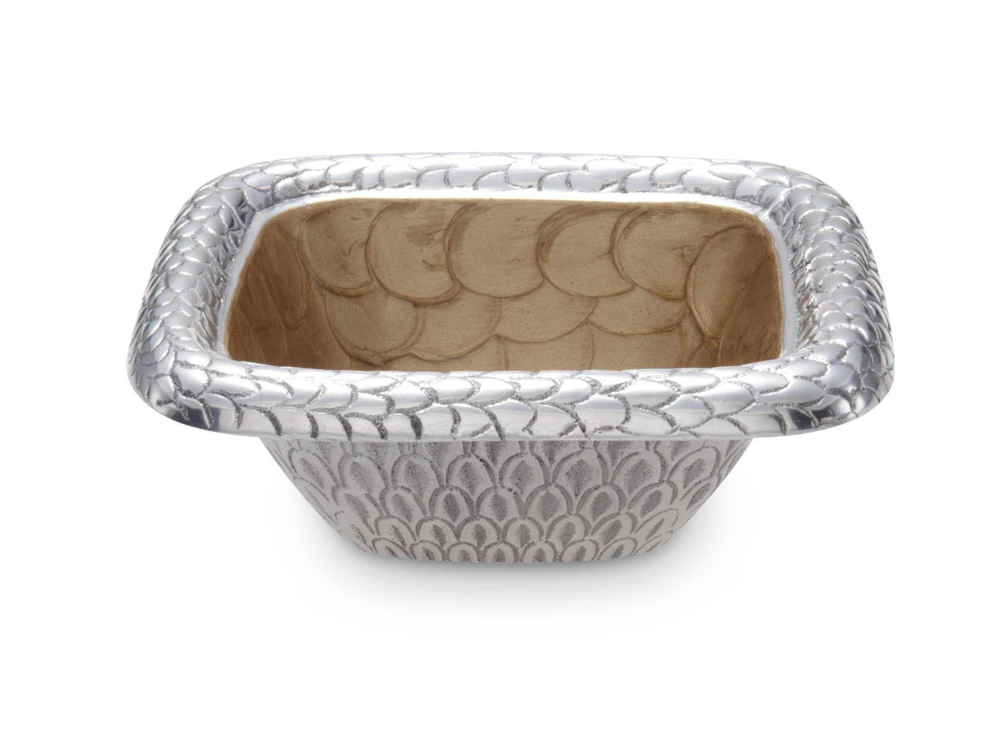 Julia Knight Florentine Square Bowl, 6.25-Inch, Toffee, Brown