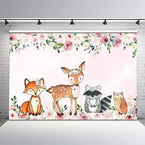 Mocsicka Boho Pink Girl Woodland Animals Backdrop Floral Woodland Baby Shower Photo Background 7x5ft Girl Woodland Birthday Vinyl Backdrops Woodland Safari Baby Shower Birthday Decorations