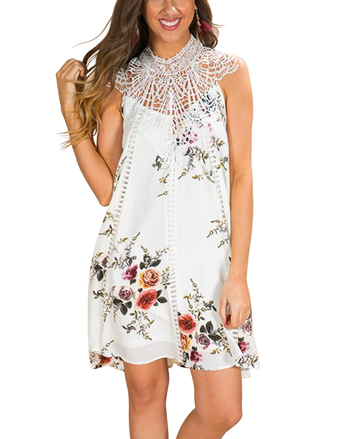 c278800958 Blooming Jelly Women Chiffon Lace Dress Flower Print High Neck Sleeveless  Back-Hole Button Dresses Loose Above Knee Midi Dresses for Women Summer  ...