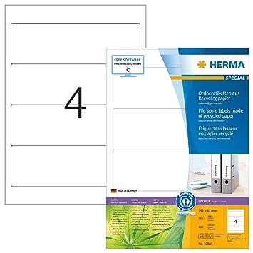 Herma 10835 - Etiquetas para archivador A4, 192 x 61 mm, papel reciclado, certificado ambiental, 400 unidades, color blanco: Amazon.es: Oficina y papelería