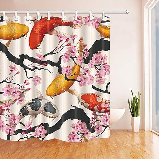 Cherry blossoms Bathroom Shower Curtain Waterproof Fabric w//12 Hook 71*71inch