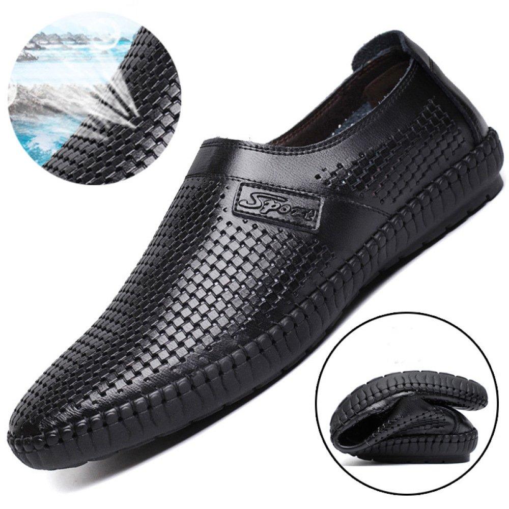 YXLONG Männer Sandalen Sommer Neue Loch HohlSandale Casual Herren British Leder Business Casual HohlSandale Atmungsaktive Schuhe schwarz 9204b7