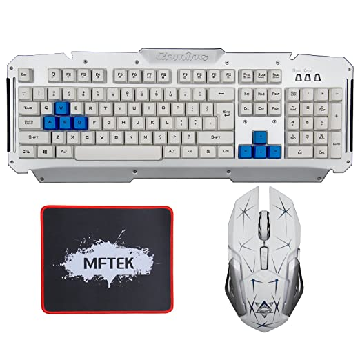 4 opinioni per Tastiera Gaming e Mouse Set per laptop Desktop Gamers MFTEK USB Crack Blu