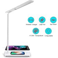 Lámpara Escritorio LED Táctil - Qi Rápida Cargador Inalámbrico para todos los Teléfonos Qi y Puerto USB, Lámparas de…