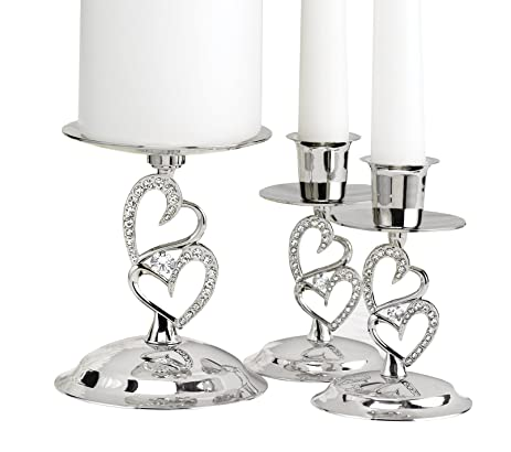 Hortense B Hewitt Wedding Accessories Nickel Plates Sparkling Love Candle Stands Set Of