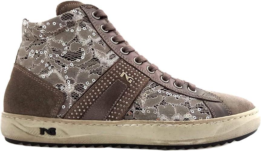 Nero Giardini Sneakers Alte Donna in camoscio e Pizzo