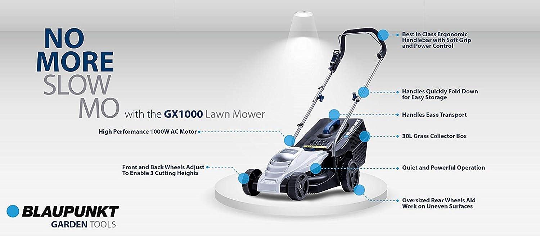 BLAUPUNKT Cortacésped Eléctrico Jardinería GX1000 de Alta Potencia con Motor Eléctrico AC 1000W 3600rpm y 32 cm Diámetro Corte 3 Posiciones de Ajuste ...