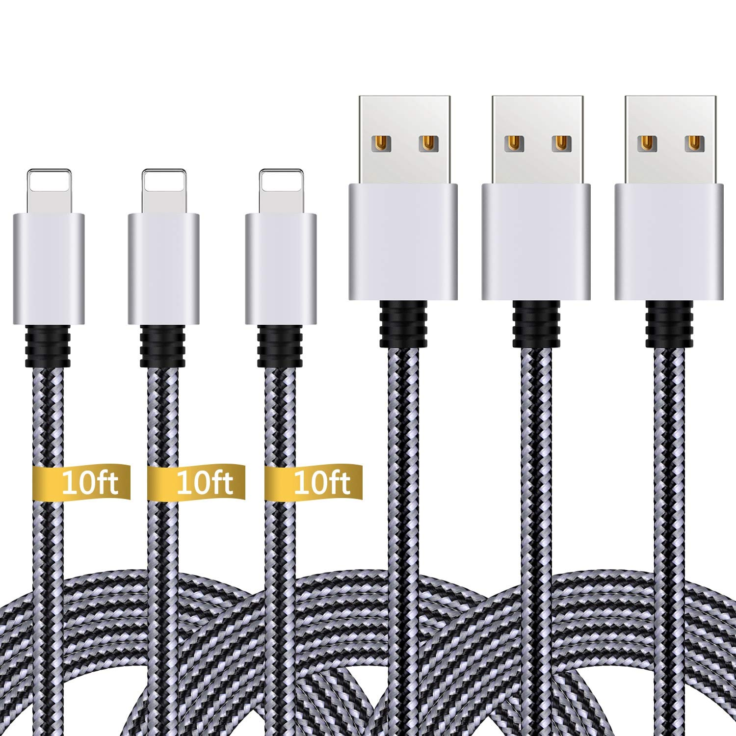 iPhone Charger,3Pack 10FT Lightning to USB Cable Nylon Braided Charging Cord Compatible with iPhone X 8 Plus 8 7 Plus 7 6 6S 6 Plus 5S SE iPod iPad ...
