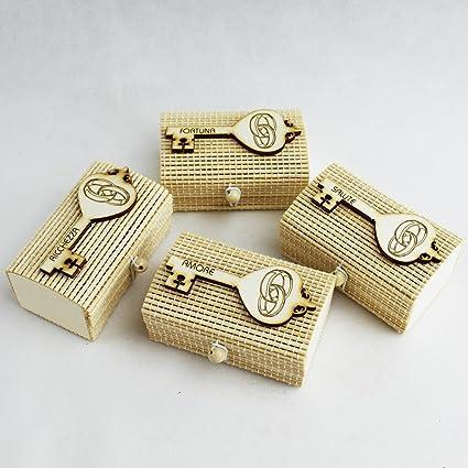 DLM Bomboniere dlm26504 (Kit 12 piezas) caja puerta Confetti de bambu Llave Suerte con