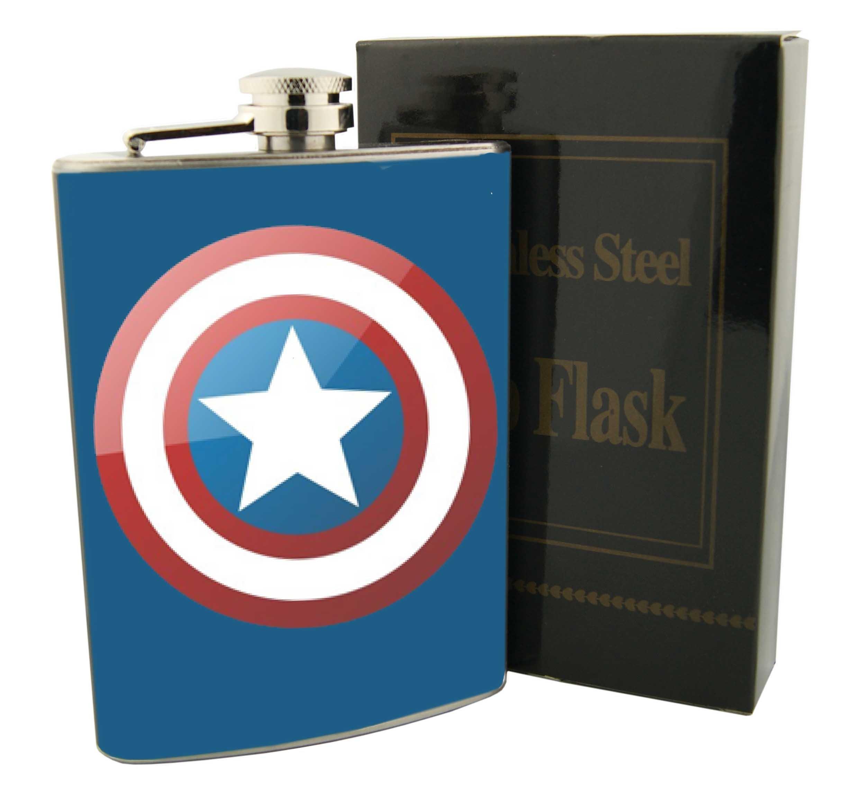 Star Wars or Superhero 8oz Stainless Steel Flask (Captain America)