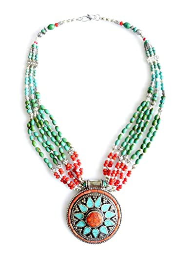 Amazon coral turquoise tibetan necklace for women handmade coral turquoise tibetan necklace for women handmade multi strand authentic vintage gypsy pendant necklace by aloadofball Choice Image
