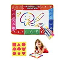 Xndryan Water Drawing Mat for Toddlers, 100cm * 70cm Magic Water Doodle Mat Painting Writing Doodle Board with 3 Magic Water Pens and Drawing Mould for 2-8 Years Old Kids