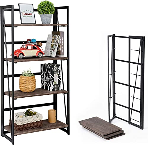 Coavas Folding Bookshelf Home Office Industrial Bookcase No Assembly Storage Shelves Vintage 4 Tiers Flower Stand Rustic Metal Book Rack Organizer