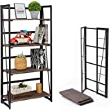 Coavas Folding Bookshelf Home Office Industrial Bookcase No Assembly Storage Shelves Vintage 4 Tiers Flower Stand Rustic Meta