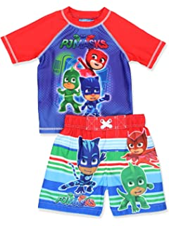 PJ Masks Boys Swim Trunks and Rash Guard Set (Toddler)