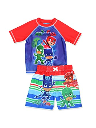 d762d30571 Amazon.com: PJ Masks Boys Swim Trunks and Rash Guard Set (Toddler): Clothing