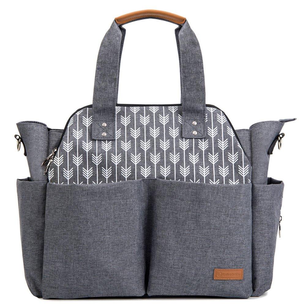 Lekebaby Baby Nappy Changing Bag Satchel Messenger Large Capacity, Arrow Print, Grey Leke Company
