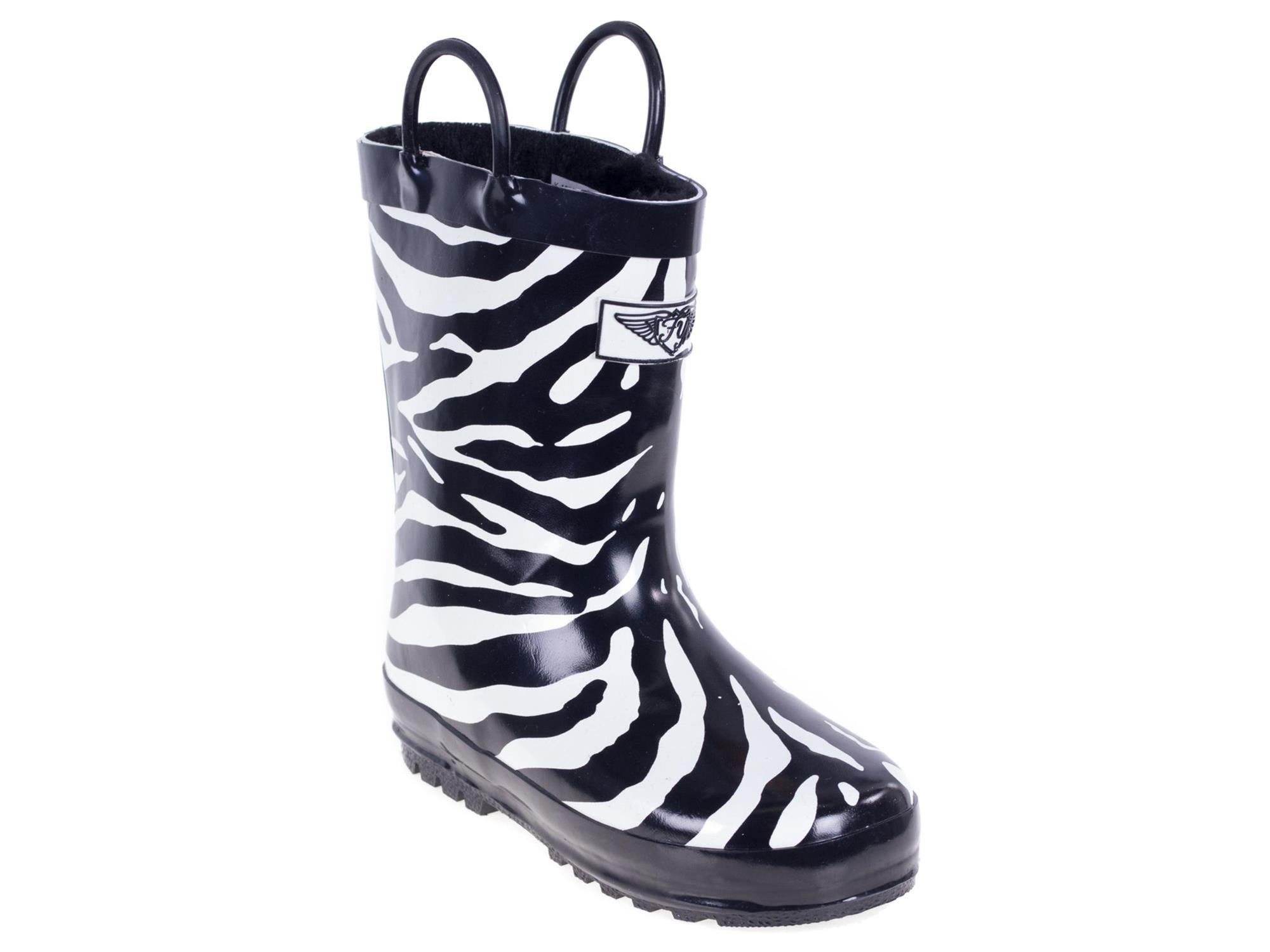 Forever Young Kid's Rubber Pull Up Zebra Print Rainboots, 11, Black