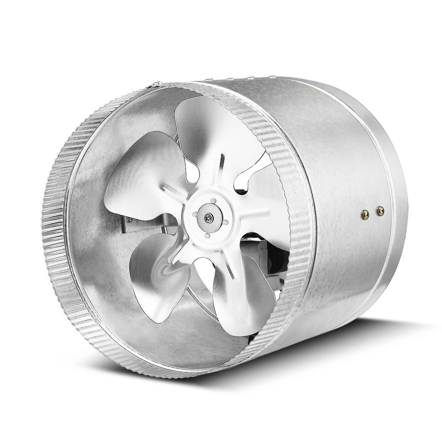 8 Inch, 420 CFM Flexzion Inline Duct Fan Booster Exhaust Blower Vent Air Extractor Ventilation System HVAC Low Noise Quiet Operation with Aluminum Blade /& Grounded Power Cord