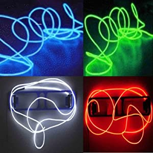 TDLTEK 4 Pack 15Ft Neon Glowing Strobing Electroluminescent Wire/El Wire(Blue, Green, Red, White) + 3 Modes Battery Controllers