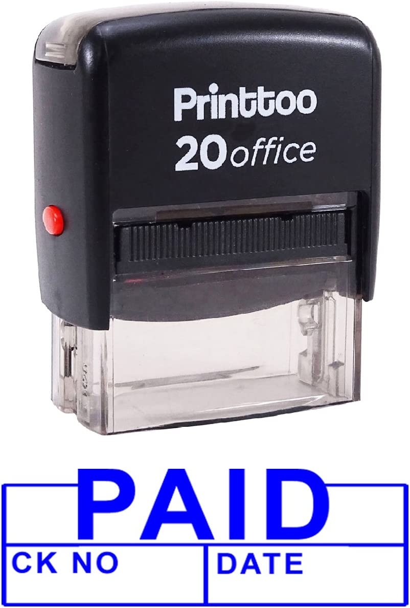 with Date Self Inking Rubber Stamp Office Stationary Custom Stamp-Blue Printtoo Paid CK NO