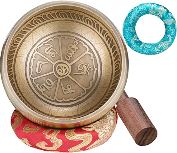 Stress /& Anxiety Relief Relaxation Zidao Singing Bowl,With Wooden Striker And Cushion For Mindfulness Meditation