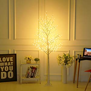 Bolylight LED Birch Tree 6ft 480L LED Christmas Decorations Lighted Tree Decor for Bedroom/Party/Wedding/Office/Home Outdoor and Indoor Use Warm White