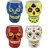 Set of 4 Ceramic Day of the Dead Sugar Skull Coffee Mugs DOD