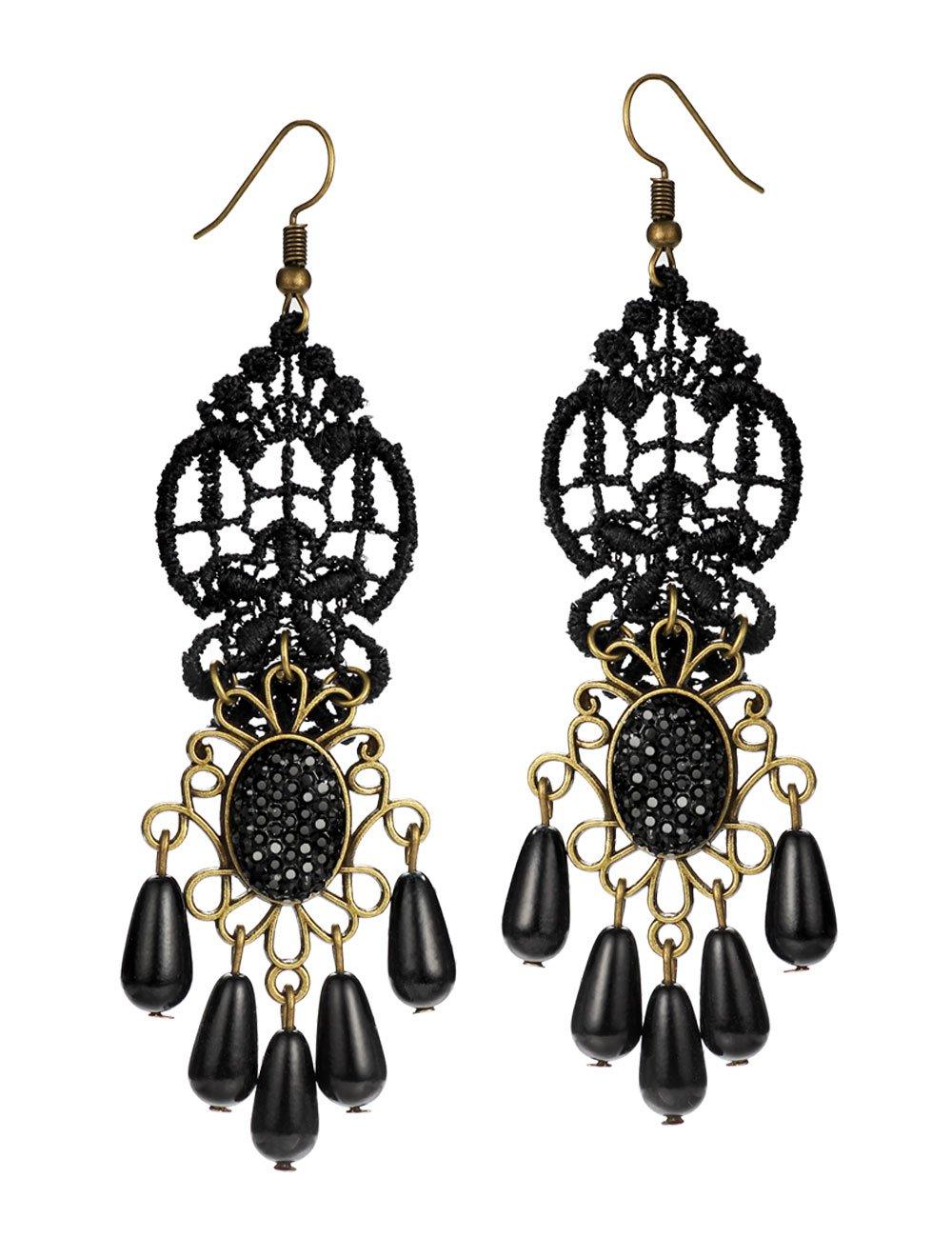Mints Tassel Earrings Teardrop Gothic Jewelry for Women Black Lace Rhinestone Drop Dangle Earrings Chandelier Vintage