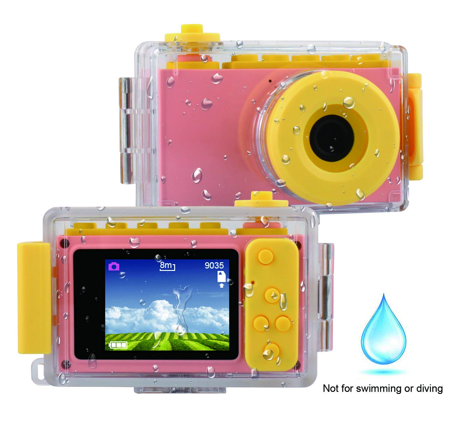 MAGENDARA Kids Digital Camera HD 1080P Children Camera with 2.0 Inch Screen Toy Camera for Boys Girls Birthday with Waterproof Case-Pink