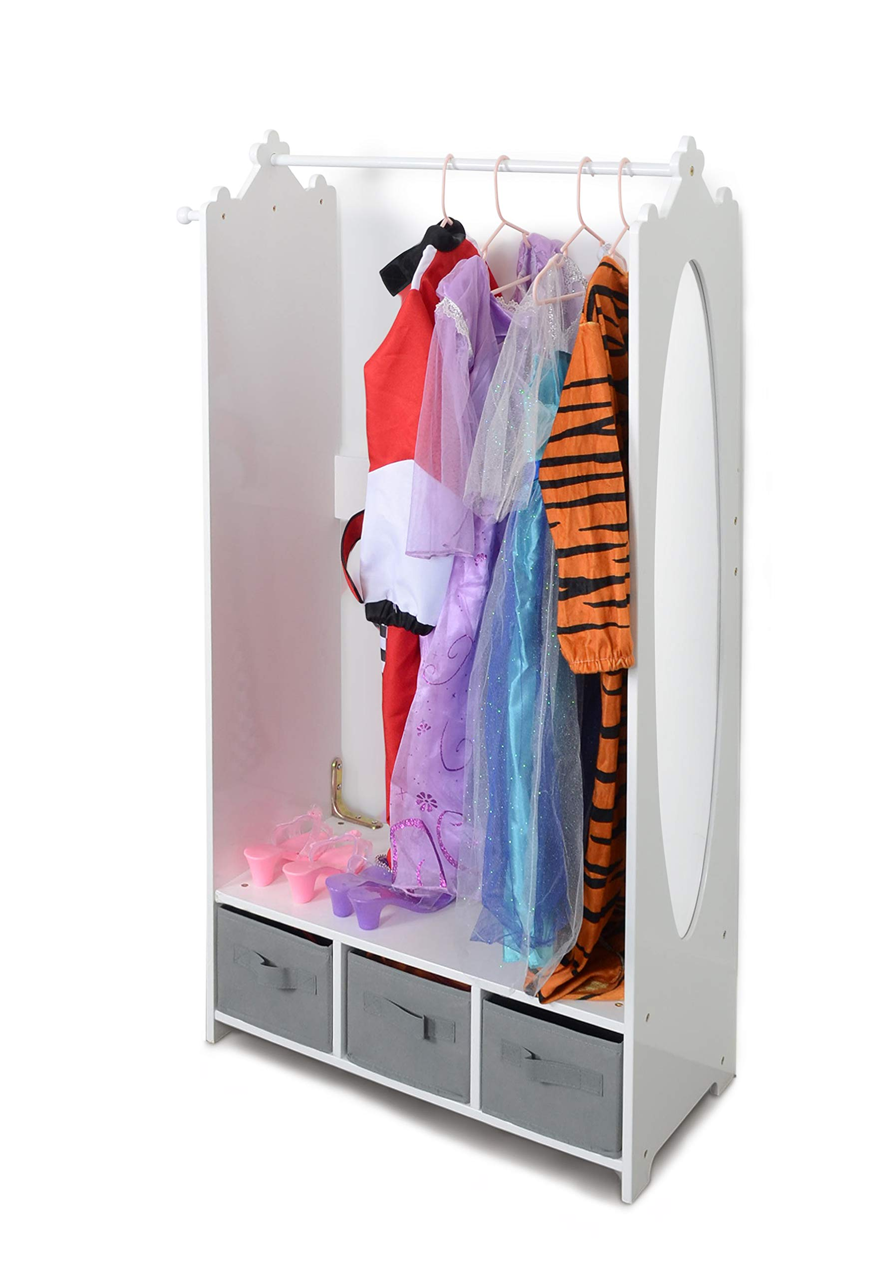 Milliard Dress Up Storage Kids Costume Organizer Center Open Hanging Armoire Closet Unit Furniture for Dramatic Play with Mirror Baskets and Hooks