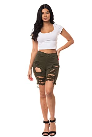 af2c3c6c142 Aphrodite Ripped Bermuda Shorts Jeans - Women's High Waisted Destroyed Distress  Denim Short Pants 6801F (