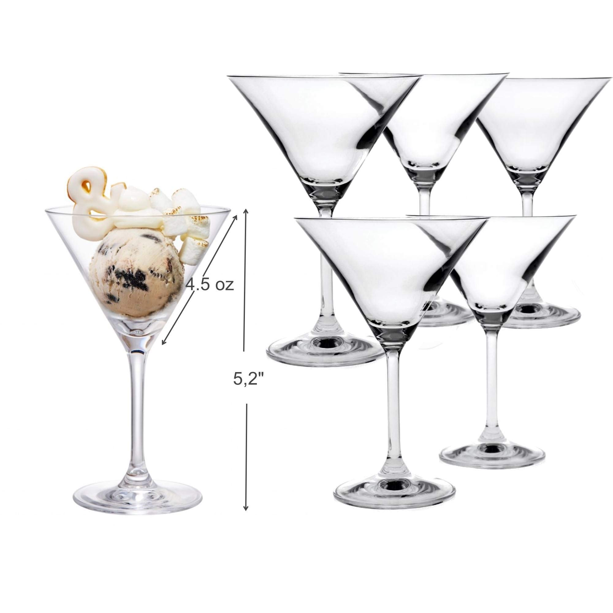 Mini Martini Shaped Glasses -Set of 6 (4.5 Ounce) - Perfect Desserts Glasses with Stem by PARNOO