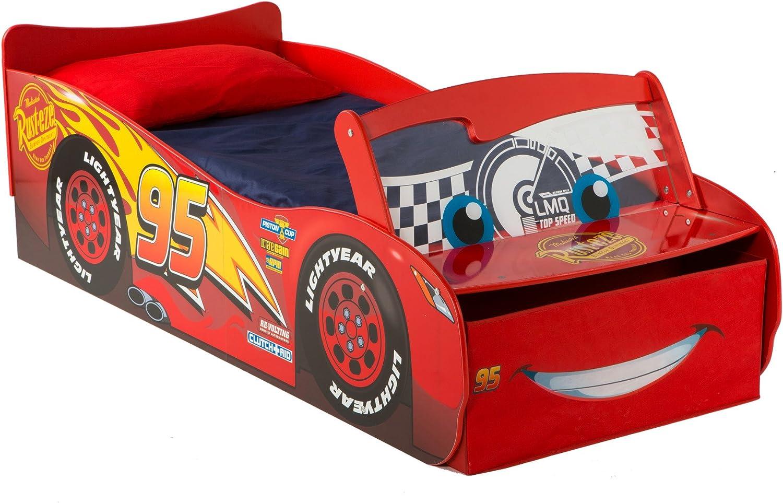 Hello Home Disney Cars Mcqueen Cama Infantil de iluminación, Madera, Rojo