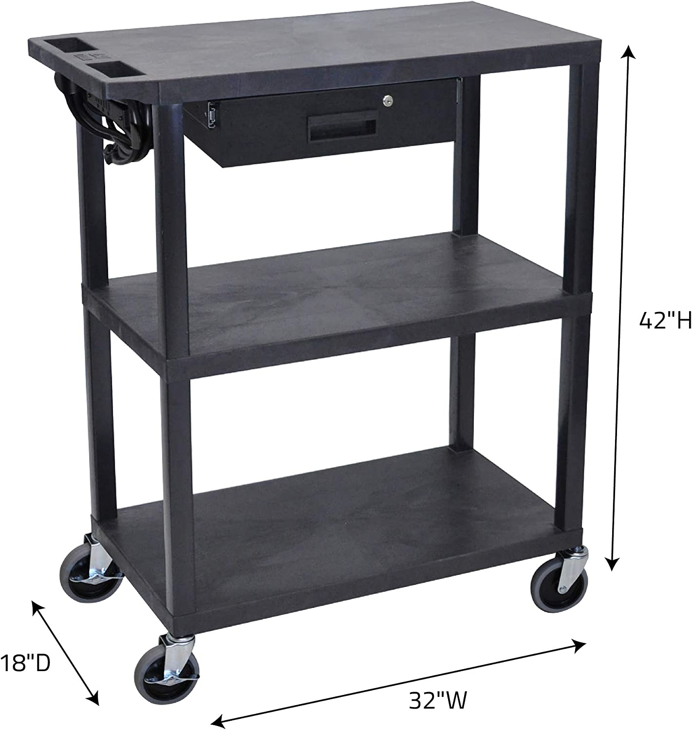 Amazon Com Offex 32 W X 18 D Multipurpose Storage Utility Rolling Electric Av Presentation Cart With 3 Flat Shelves And Drawer Black Ideal For Video Projector Tv Laptop Computer Printer Stand