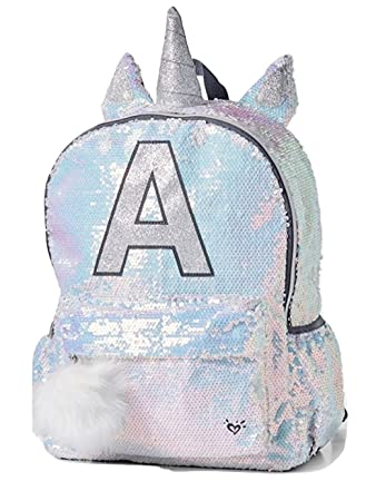 ac2df1a5ad Justice Backpack sequin Unicorn letter initial (O)