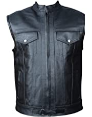 Gentry Choice Premium Leather Sons of Anarchy Style Biker Men Motorcycle Vest Black Waistcoat
