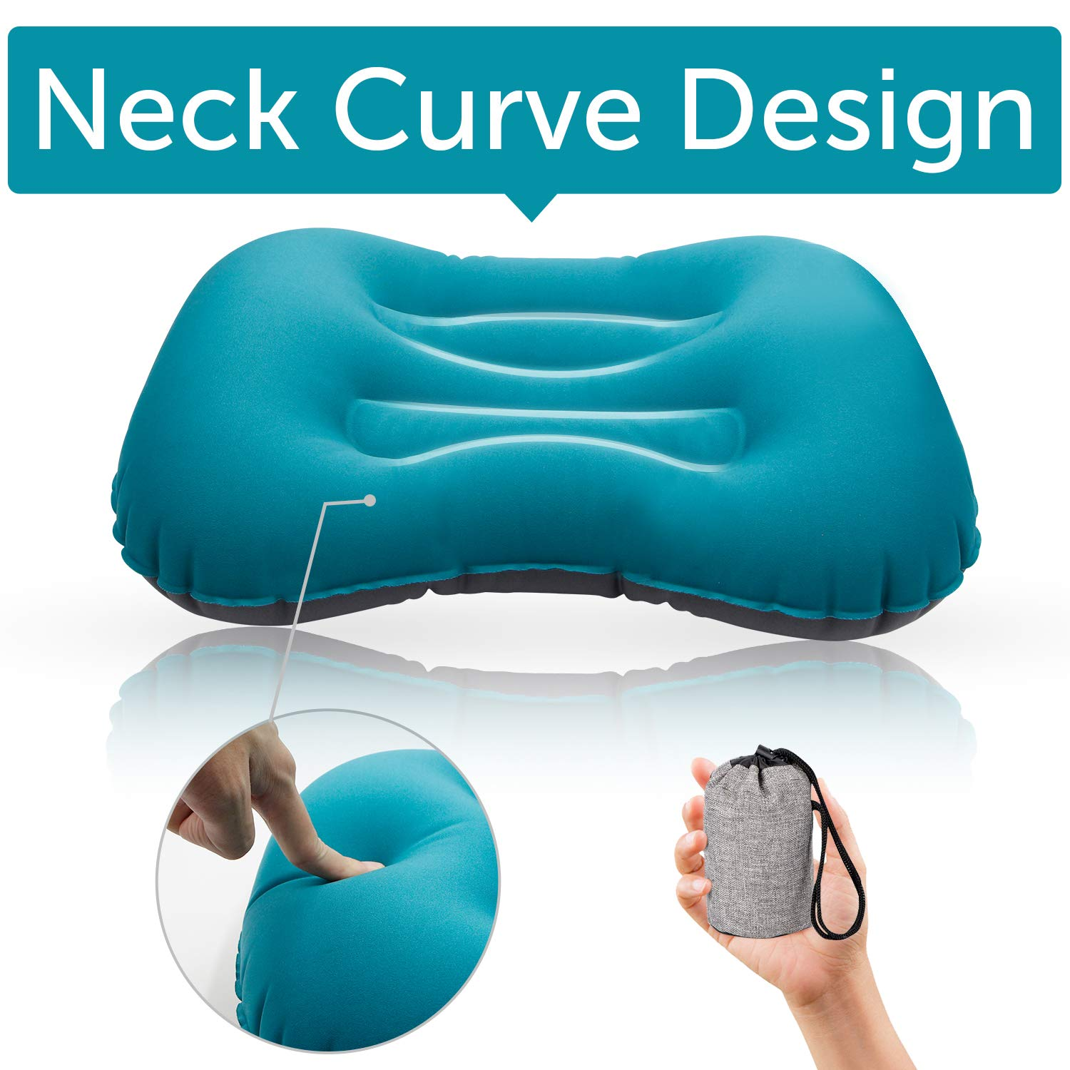Camping Pillow,Inflatable Pillow,Quickly Inflate and Defflate Travel Pillow for Your Neck Lumbar Support Backpacking, Hiking, Airplane Car Beach-Indoor & Outdoor(Air Blue)