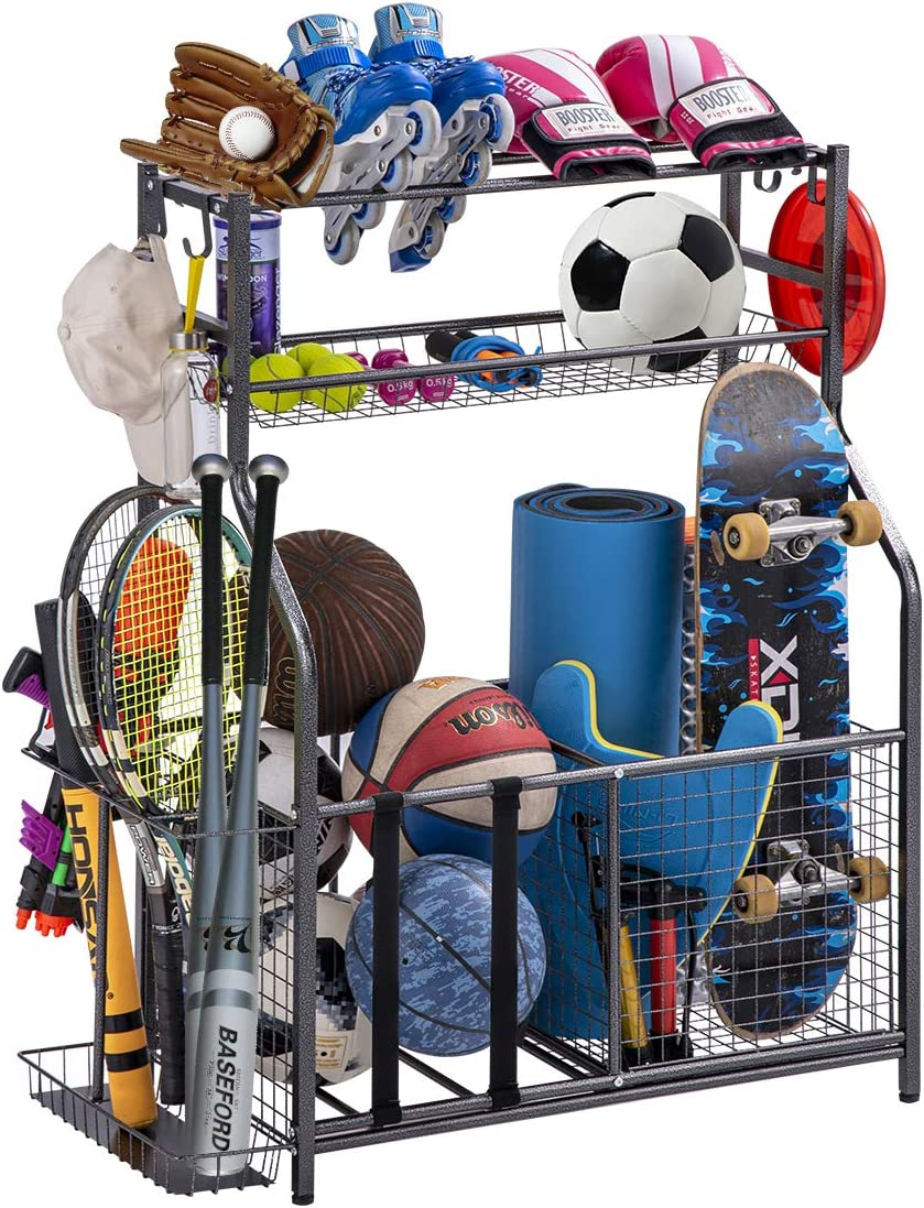 Garage Sports Equipment Storage Organizer with Baskets and Hooks - Easy to Assemble - Sports Ball Gear Rack Holds Basketballs, Baseball Bats, Footballs, Tennis Rackets and More (King)