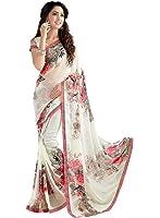 Vivera Women's Georgette Saree With Blouse Piece (Vrprint_Flower77 ,White Free Size)